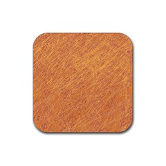 Orange Pattern Rubber Square Coaster (4 Pack)  by Valentinaart