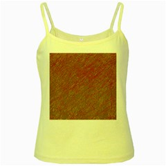 Brown Pattern Yellow Spaghetti Tank by Valentinaart