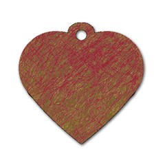 Brown pattern Dog Tag Heart (One Side)
