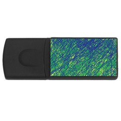 Green Pattern Usb Flash Drive Rectangular (4 Gb)  by Valentinaart