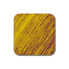 Yellow Van Gogh pattern Rubber Coaster (Square)  by Valentinaart