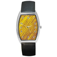 Yellow Van Gogh Pattern Barrel Style Metal Watch by Valentinaart