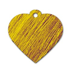 Yellow Van Gogh pattern Dog Tag Heart (One Side)