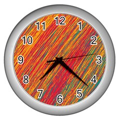 Orange Van Gogh pattern Wall Clocks (Silver)