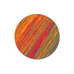Orange Van Gogh Pattern Magnet 3  (round) by Valentinaart