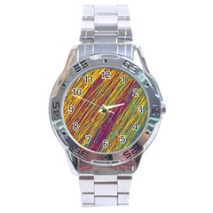 Yellow, Purple And Green Van Gogh Pattern Stainless Steel Analogue Watch by Valentinaart