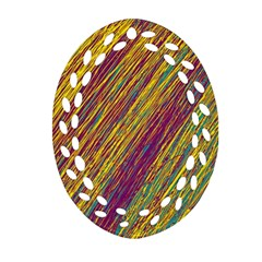 Yellow, Purple And Green Van Gogh Pattern Oval Filigree Ornament (2 Side)  by Valentinaart