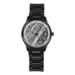 Black And White Decorative Pattern Stainless Steel Round Watch by Valentinaart