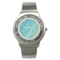 Light Blue Pattern Stainless Steel Watch by Valentinaart