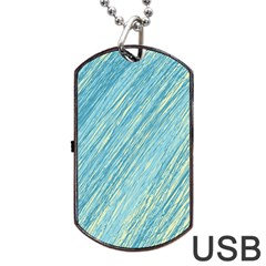 Light Blue Pattern Dog Tag Usb Flash (one Side) by Valentinaart