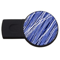 Blue Elegant Pattern Usb Flash Drive Round (4 Gb)  by Valentinaart