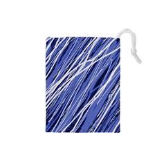 Blue Elegant Pattern Drawstring Pouches (small)