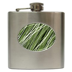 Green Decorative Pattern Hip Flask (6 Oz) by Valentinaart