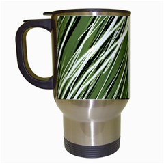 Green Decorative Pattern Travel Mugs (white) by Valentinaart