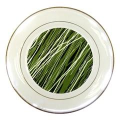 Green Decorative Pattern Porcelain Plates by Valentinaart