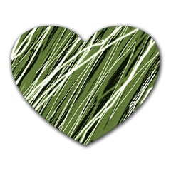 Green Decorative Pattern Heart Mousepads by Valentinaart