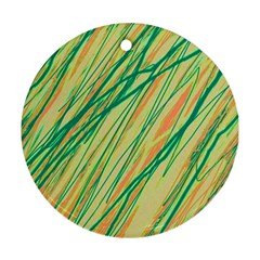 Green And Orange Pattern Ornament (round)  by Valentinaart