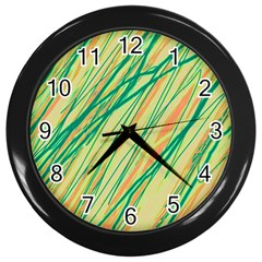 Green And Orange Pattern Wall Clocks (black) by Valentinaart