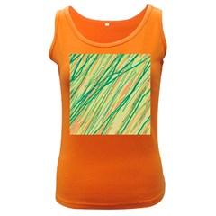 Green And Orange Pattern Women s Dark Tank Top by Valentinaart