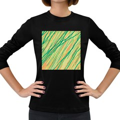 Green And Orange Pattern Women s Long Sleeve Dark T Shirts by Valentinaart