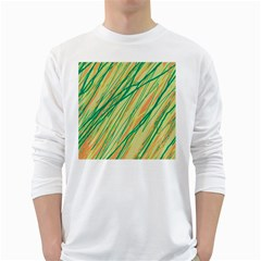 Green And Orange Pattern White Long Sleeve T Shirts by Valentinaart