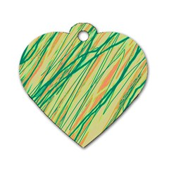 Green and orange pattern Dog Tag Heart (Two Sides) by Valentinaart