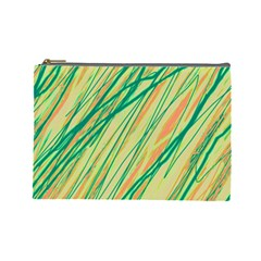 Green And Orange Pattern Cosmetic Bag (large)  by Valentinaart