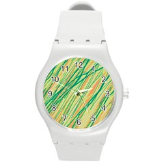 Green And Orange Pattern Round Plastic Sport Watch (m) by Valentinaart
