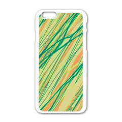 Green And Orange Pattern Apple Iphone 6/6s White Enamel Case by Valentinaart