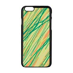 Green And Orange Pattern Apple Iphone 6/6s Black Enamel Case by Valentinaart