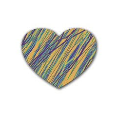Blue And Yellow Van Gogh Pattern Heart Coaster (4 Pack)  by Valentinaart