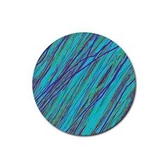 Blue Pattern Rubber Coaster (round)  by Valentinaart