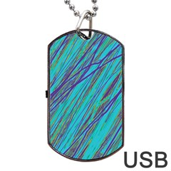 Blue Pattern Dog Tag Usb Flash (two Sides)  by Valentinaart