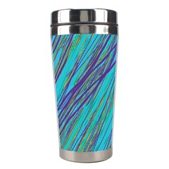 Blue Pattern Stainless Steel Travel Tumblers by Valentinaart