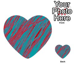 Red And Blue Pattern Multi Purpose Cards (heart)  by Valentinaart
