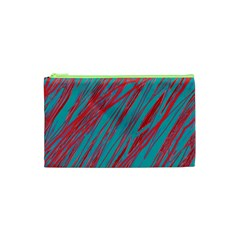 Red And Blue Pattern Cosmetic Bag (xs) by Valentinaart