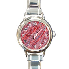 Pink And Red Decorative Pattern Round Italian Charm Watch by Valentinaart