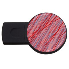 Pink and red decorative pattern USB Flash Drive Round (1 GB)  by Valentinaart