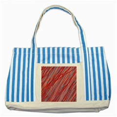 Pink And Red Decorative Pattern Striped Blue Tote Bag by Valentinaart