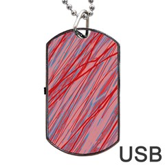 Pink And Red Decorative Pattern Dog Tag Usb Flash (one Side) by Valentinaart
