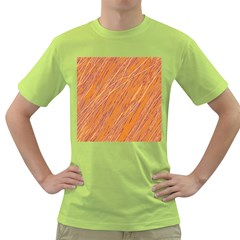 Orange Pattern Green T Shirt by Valentinaart