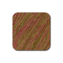 Brown Elegant Pattern Rubber Coaster (square)  by Valentinaart