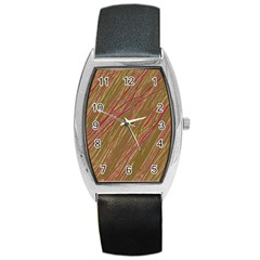 Brown Elegant Pattern Barrel Style Metal Watch by Valentinaart