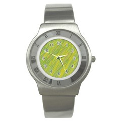 Green And Yellow Van Gogh Pattern Stainless Steel Watch by Valentinaart