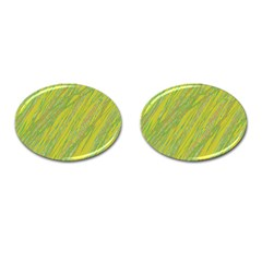 Green And Yellow Van Gogh Pattern Cufflinks (oval) by Valentinaart