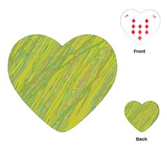 Green And Yellow Van Gogh Pattern Playing Cards (heart)  by Valentinaart