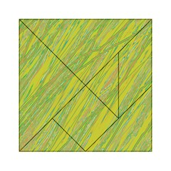 Green And Yellow Van Gogh Pattern Acrylic Tangram Puzzle (6  X 6 ) by Valentinaart