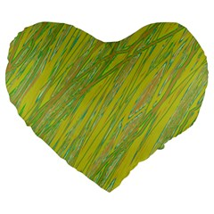 Green And Yellow Van Gogh Pattern Large 19  Premium Heart Shape Cushions by Valentinaart