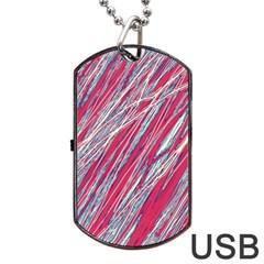 Purple decorative pattern Dog Tag USB Flash (Two Sides)  by Valentinaart