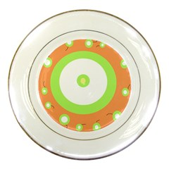 Green And Orange Design Porcelain Plates by Valentinaart